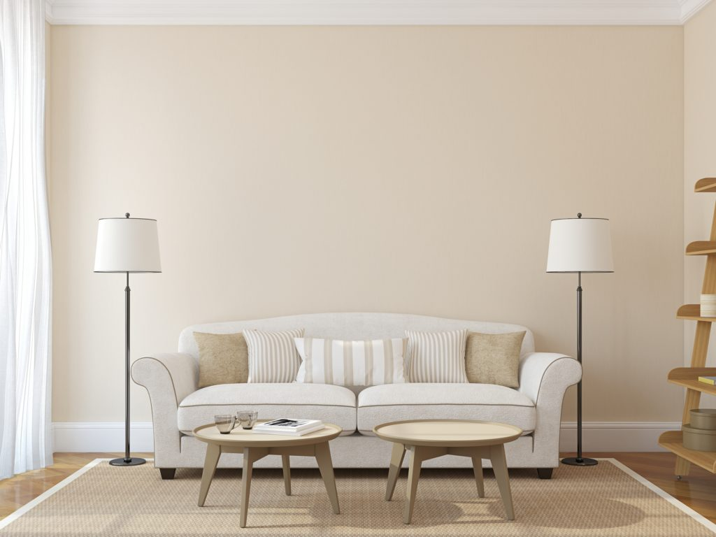 Beige Wall with White Couch in Modern Living Room Interior