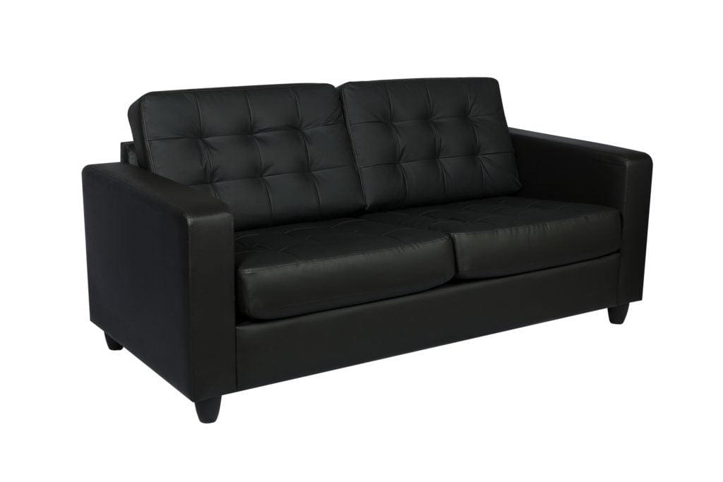 Black Leather Sofa and Fold out Bed Design