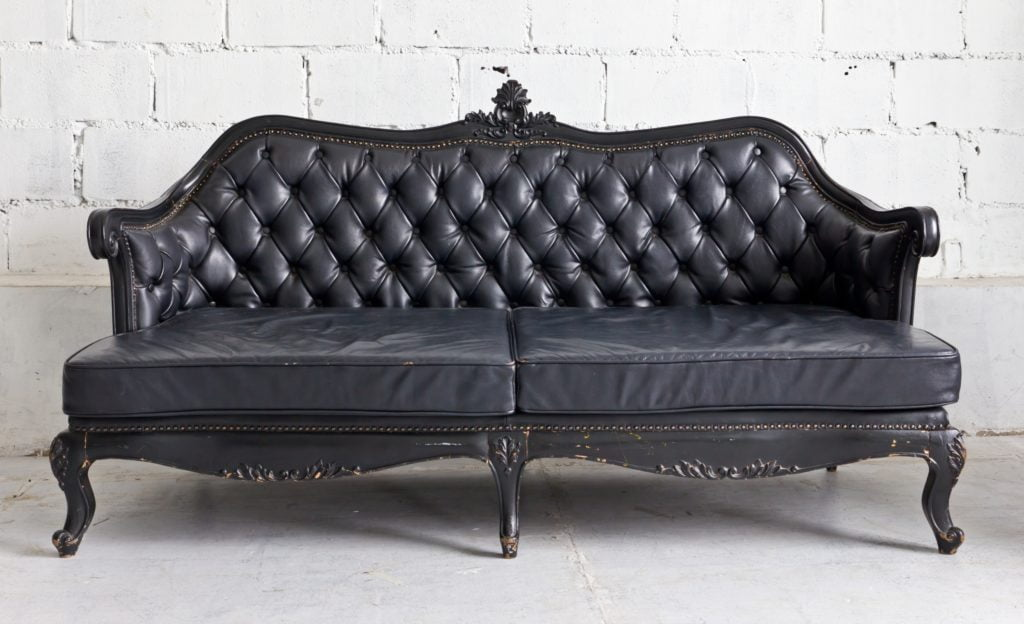 Black Vintage Armchair Sofa with Ornate Wood Decoration