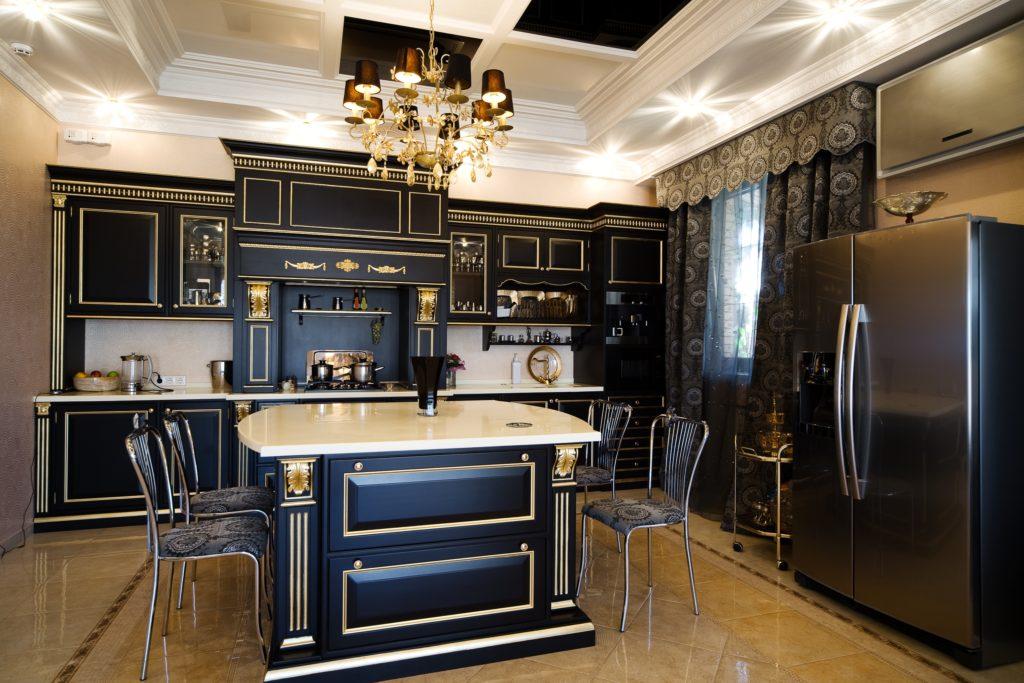 Black and Gold Mansion Kitchen