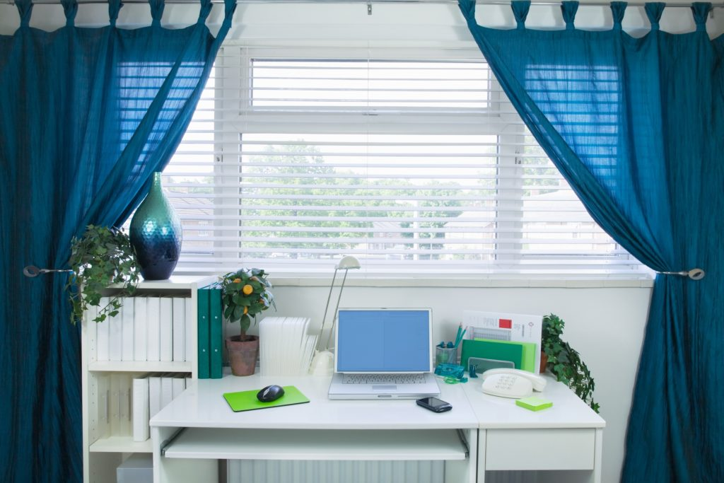 Blue Curtains for Office Area