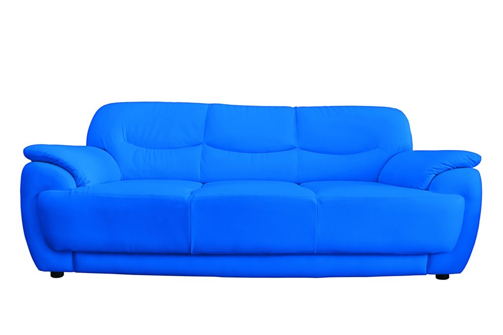 Bright Blue Leather Sofa Radiates Relaxing Comfort