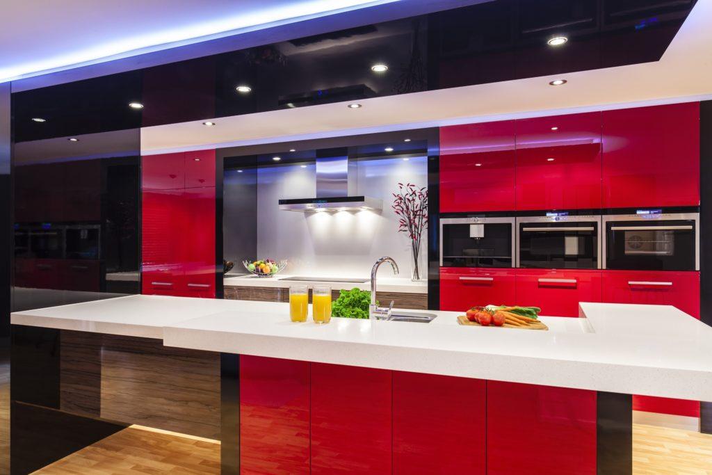 Bright Red Mansion Kitchen
