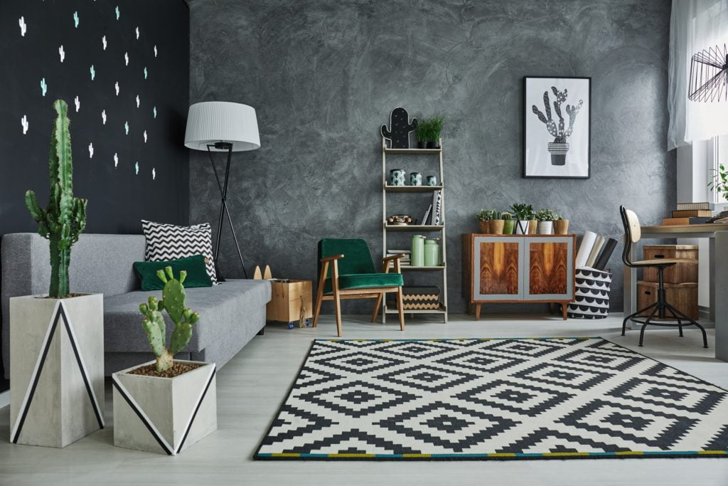 Calm Living Space Design in Grey and Black with Casual-Chic Cactus Room Décor