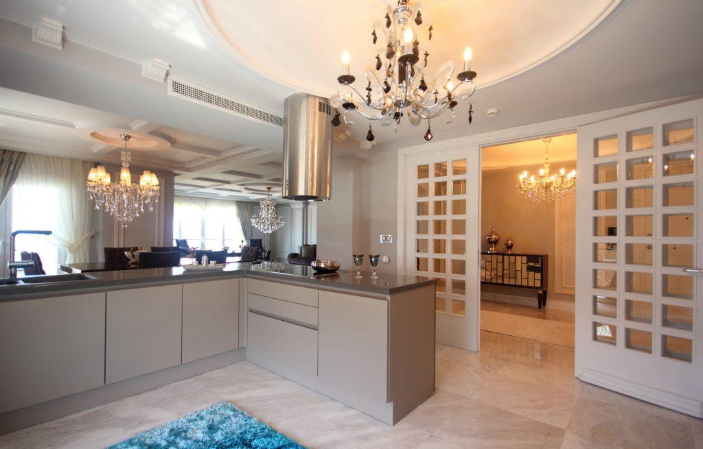 Chandelier Mansion Kitchen
