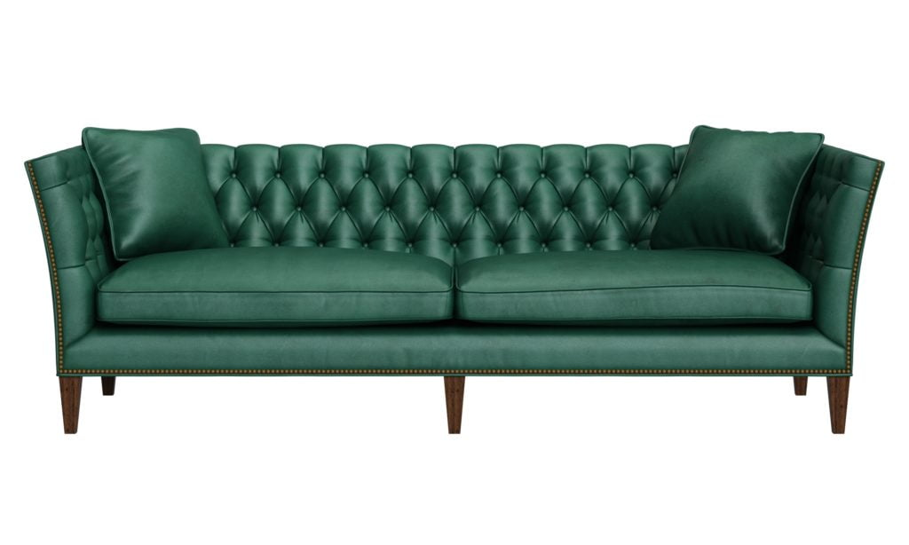Classic Leather Sofa in Cool Green Hues with Silver Sheen