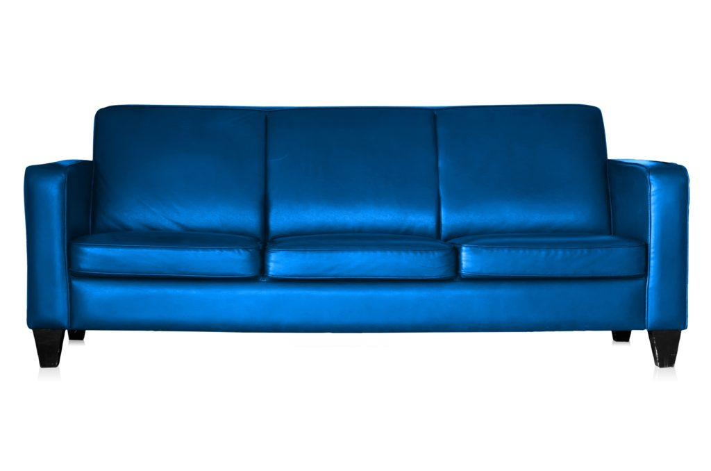 Conservative Sofa Design Embellished by Brilliant Blue Leather Surfaces