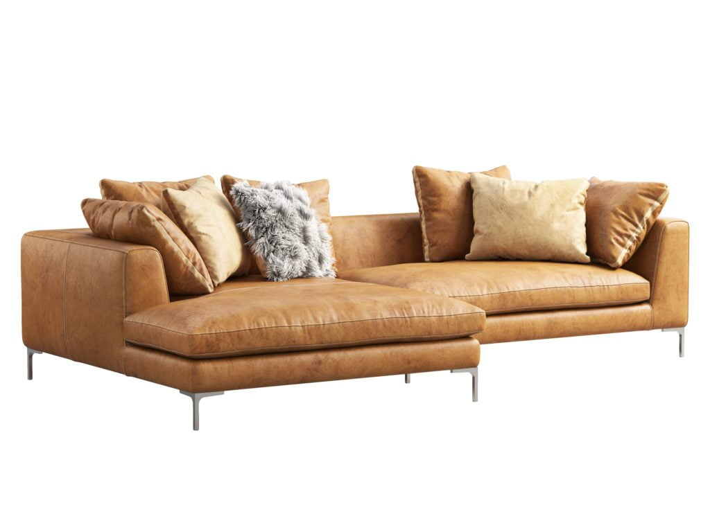 Contemporary Deep Beige Chaise Lounge Style Leather Sofa