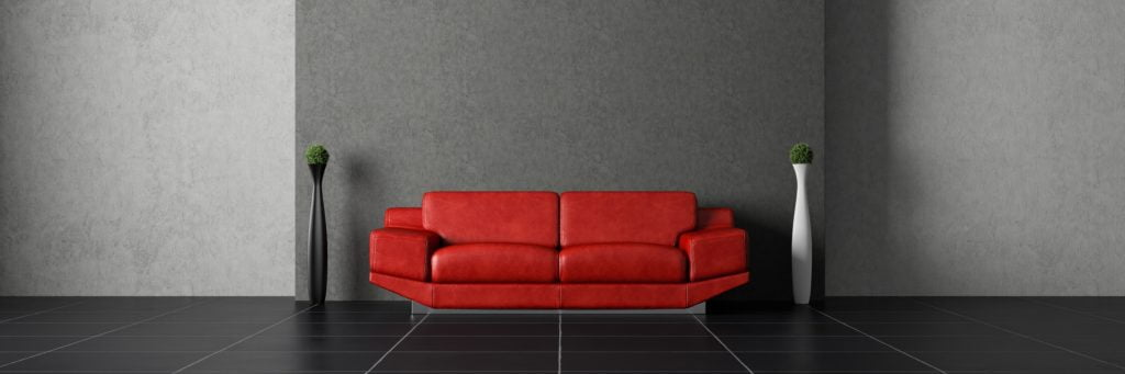 Contemporary Modular Red Leather Sofa with Soft Padded Comfort