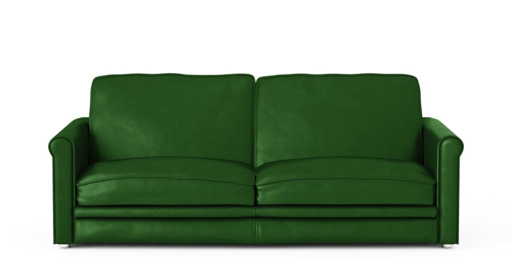 Deep Forest Green Leather Sofa in 1950s Casual Style