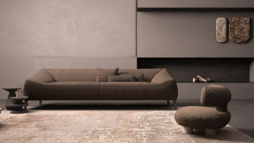 Fashionable Grunge-Style All Brown Living Room with Appeal