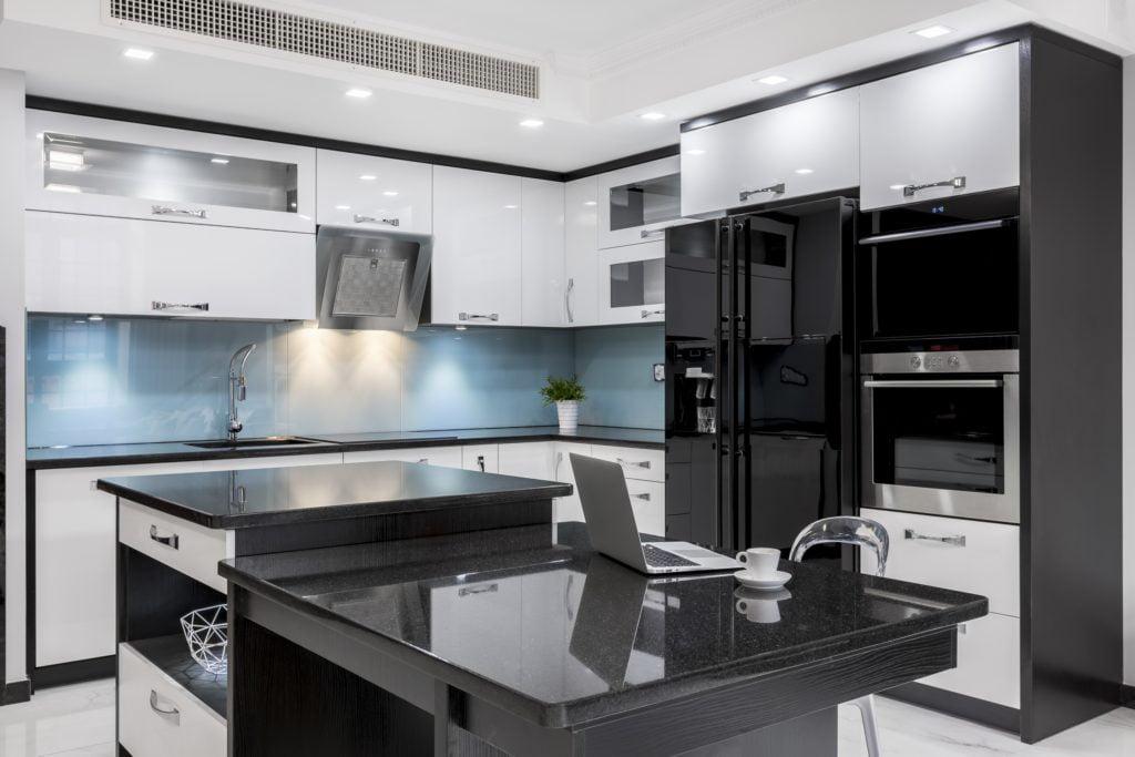 Glossy Black Mansion Kitchen
