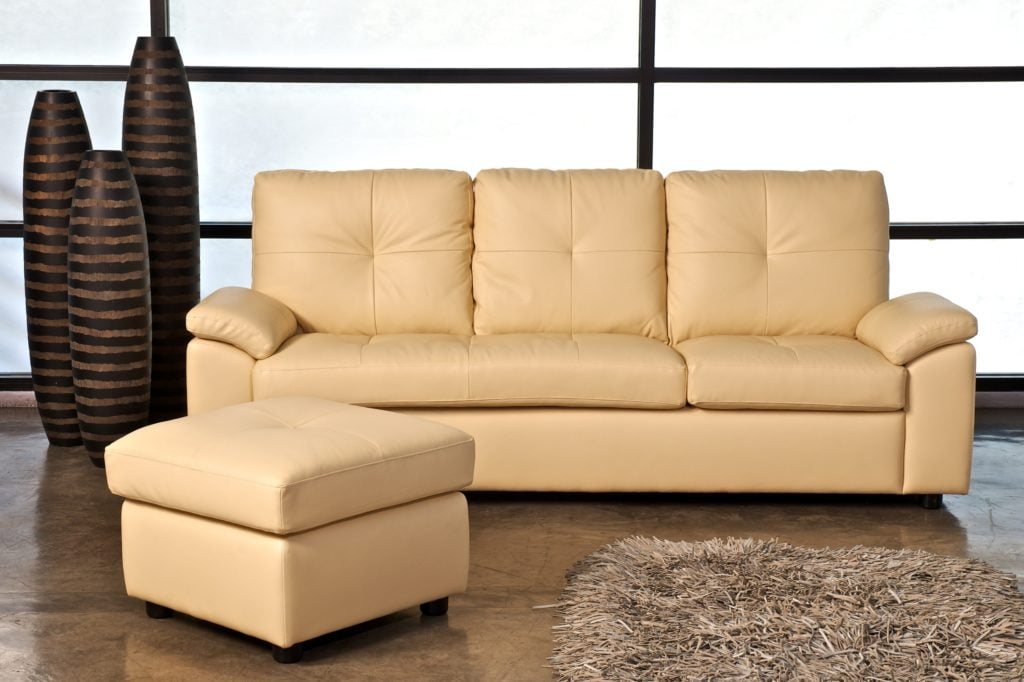 Informal Golden-Beige Sofa with Matching Footstool