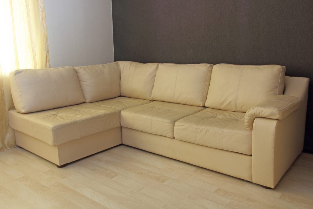 Large Corner Sofa in Elegant Light Beige Leather