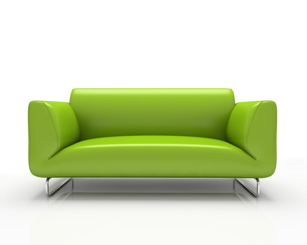 Lemon-Lime Green Leather Sofa in Seamless Minimalist Style