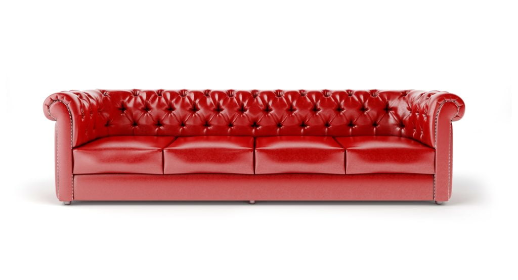 Long Red Leather Chester Sofa with Stylish Tufting Work