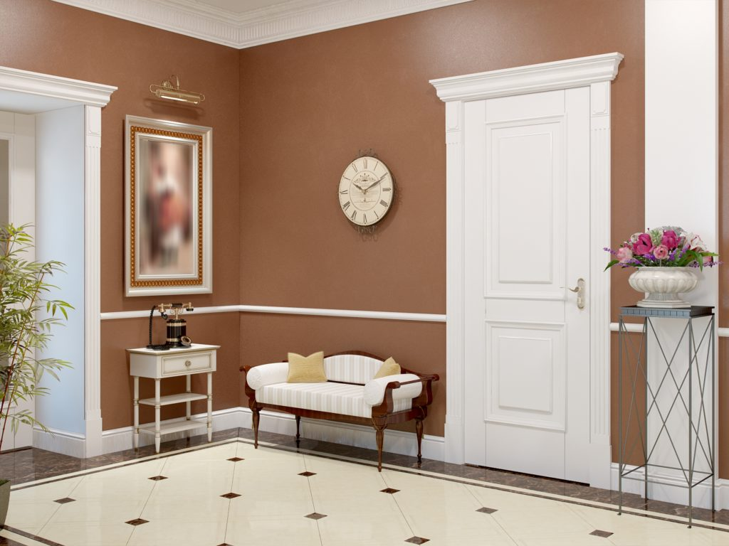 Luxurious Entry Hallway Brown Wall Decor with Antique Accents