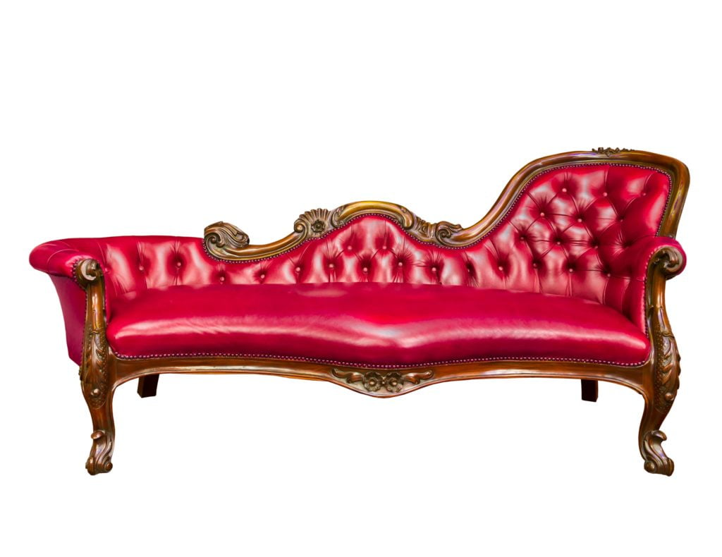 Luxurious Red Leather Armchair with Irregular Shaped Back