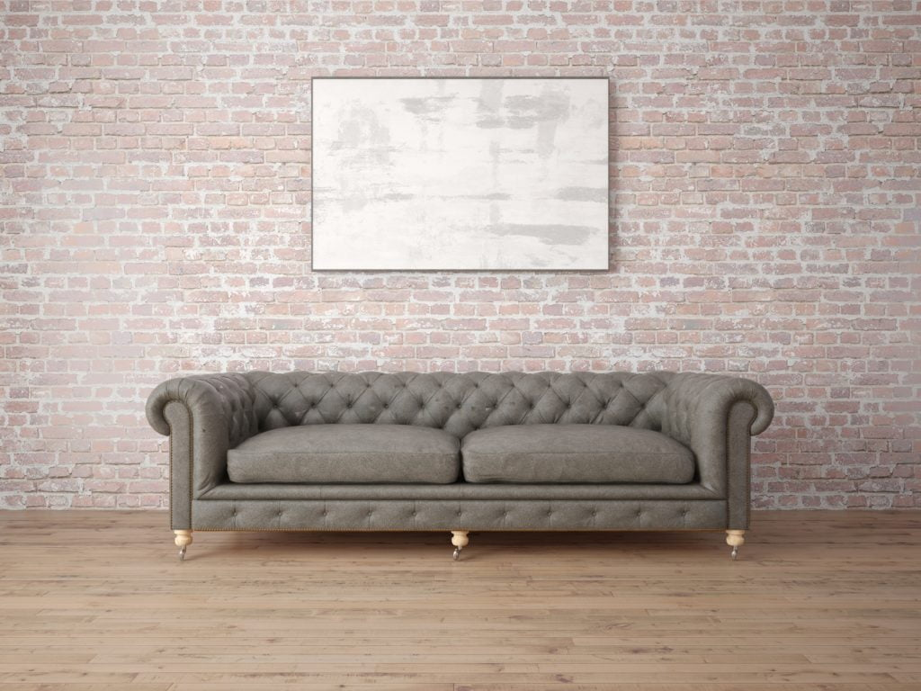 Medium Light Grey Leather Sofa with Charming Cross Stitch Back Tufting