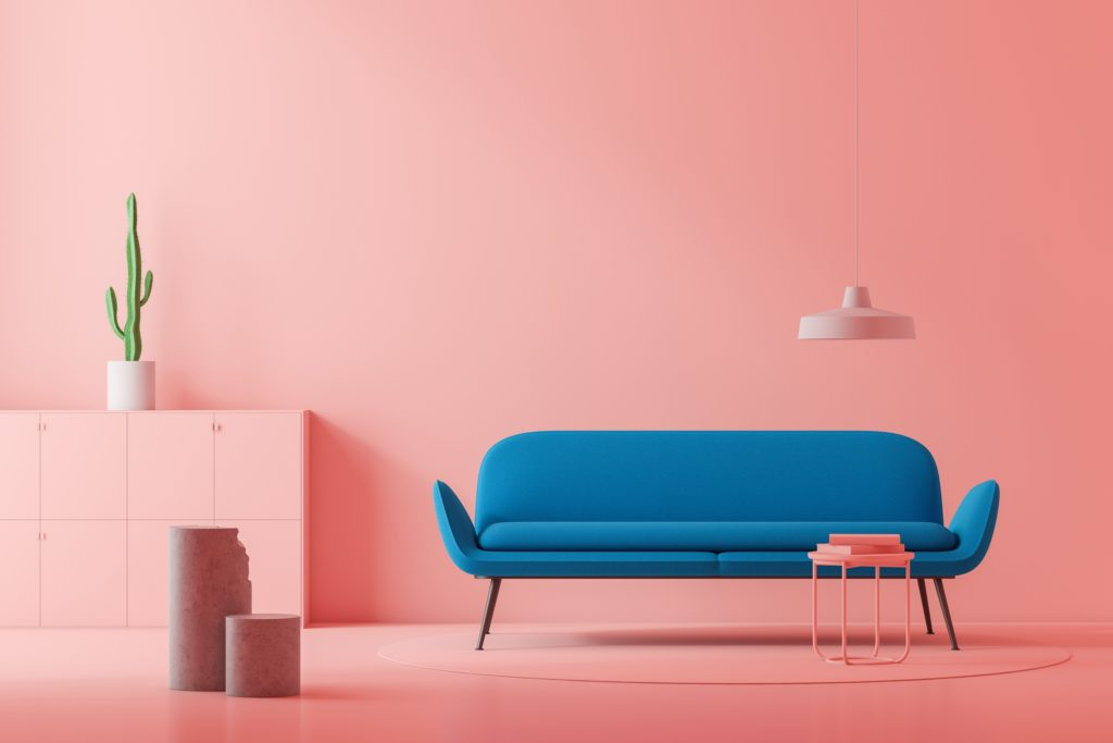 Minimalist Style Living Area with Coral Pink Walls