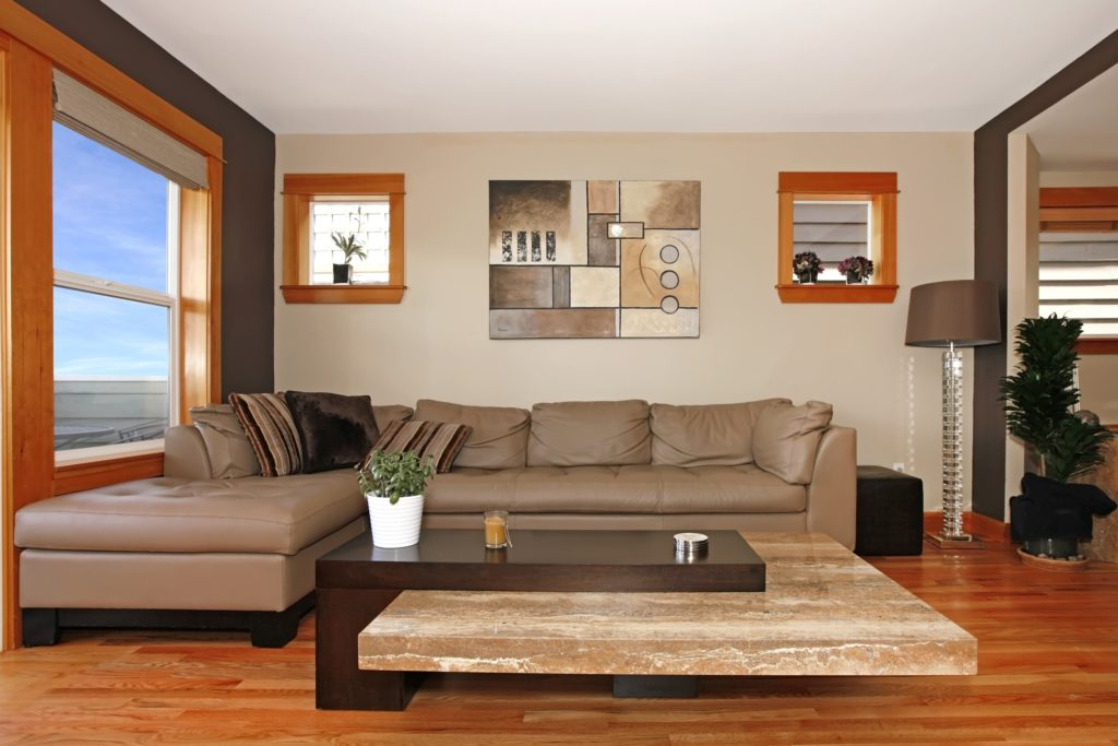 Modern Brown Living Room with Vibrant Decor and Artwork
