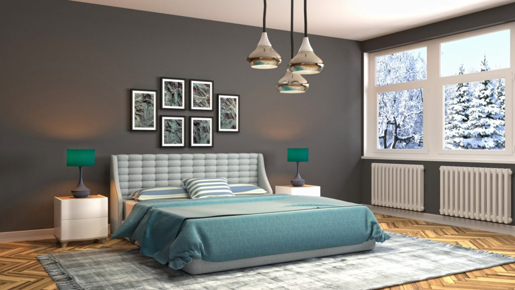 Modern Brown Wall Bedroom Design with Green and Grey Accents