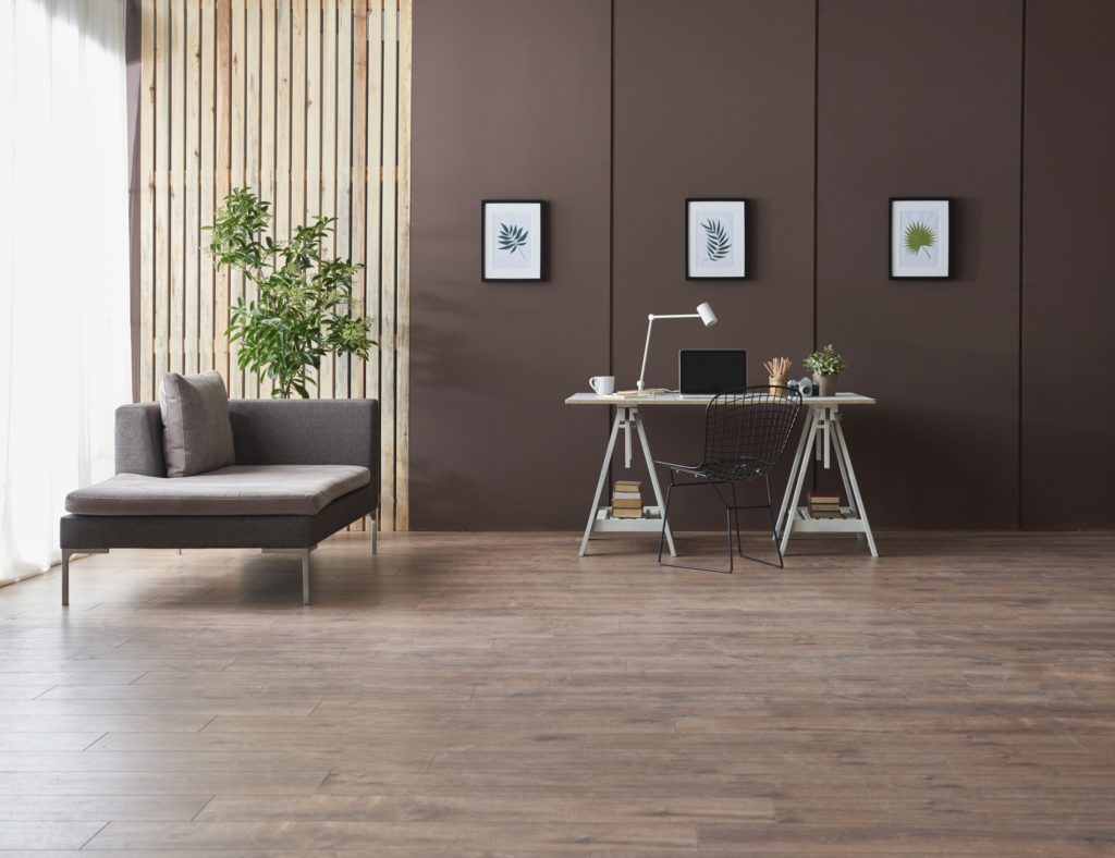 Modern Home Office with Chocolate-Brown Wall and Streamlined Decor