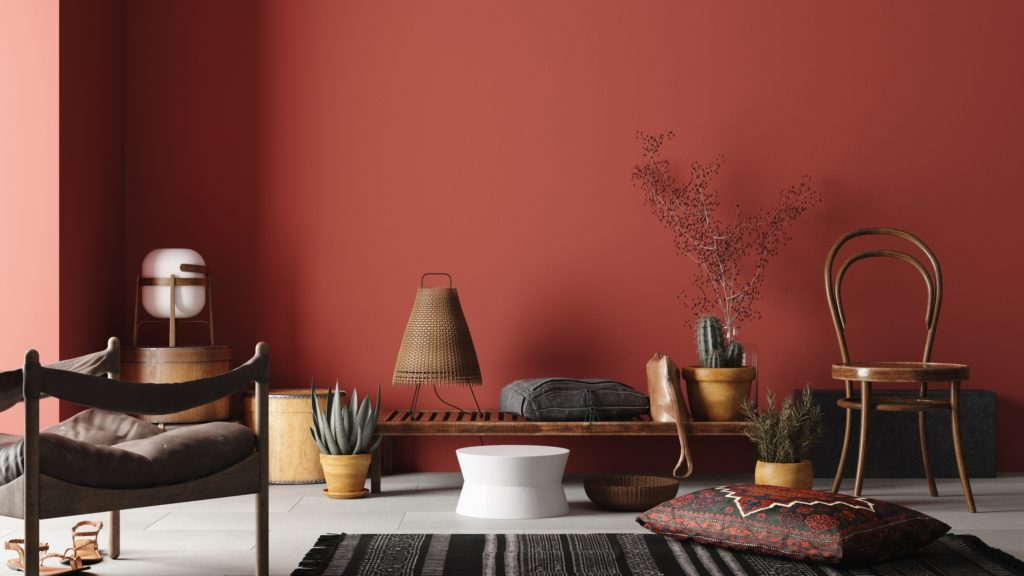 Red Brown Wall with Rustic Furnishings and Natural Decor