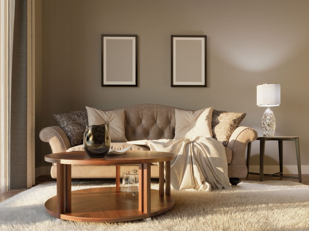 Serene Brown Grey Living Room Walls with Elegant Decor