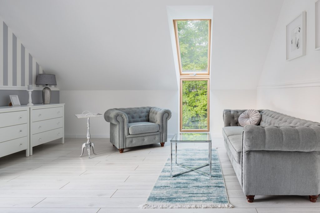 Silver and White Living Room