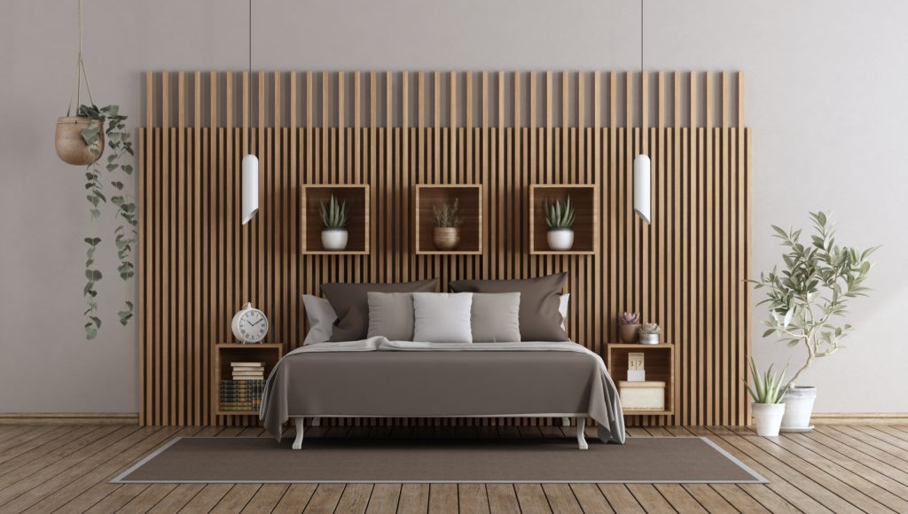 Soft Brown Bedroom with Modern Wood Paneling