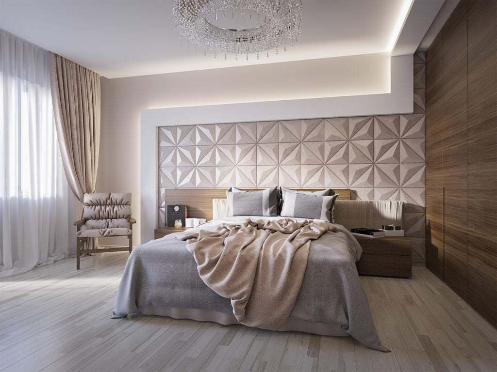 Spacious Master Bedroom with Sophisticated Leather Wall Paneling