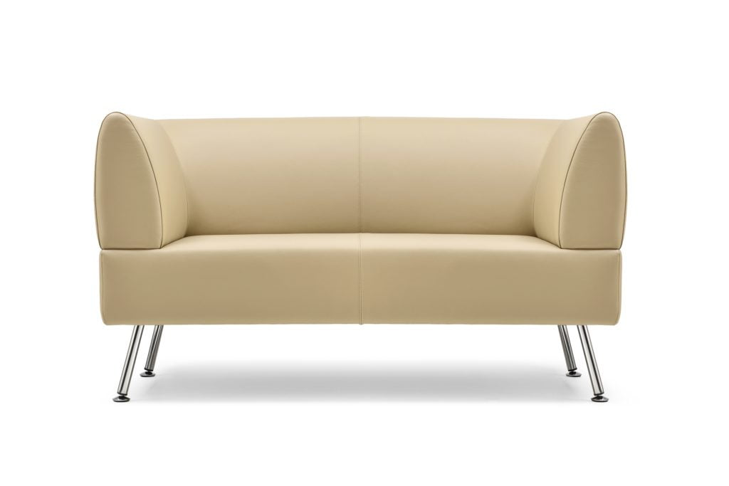 Streamlined Light Beige Leather Sofa with Molded Simplicity