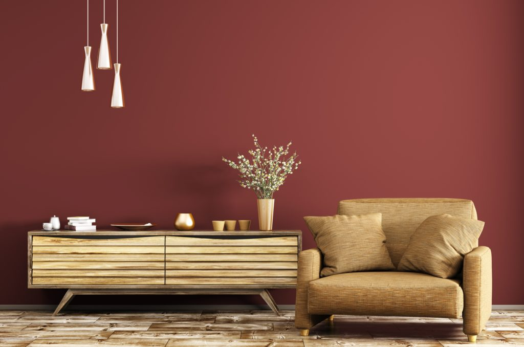 Stunning Red Brown Living Room Wall with Rustic and Modern Decor