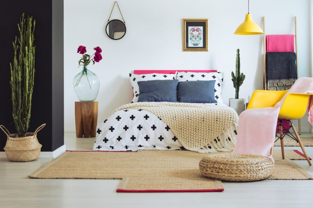 Stylish Mexican Bedroom Decor with Flowers and Cacti