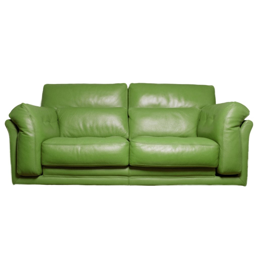Well-Stuffed Grass-Green Leather Sofa for Fresh Decor Updates
