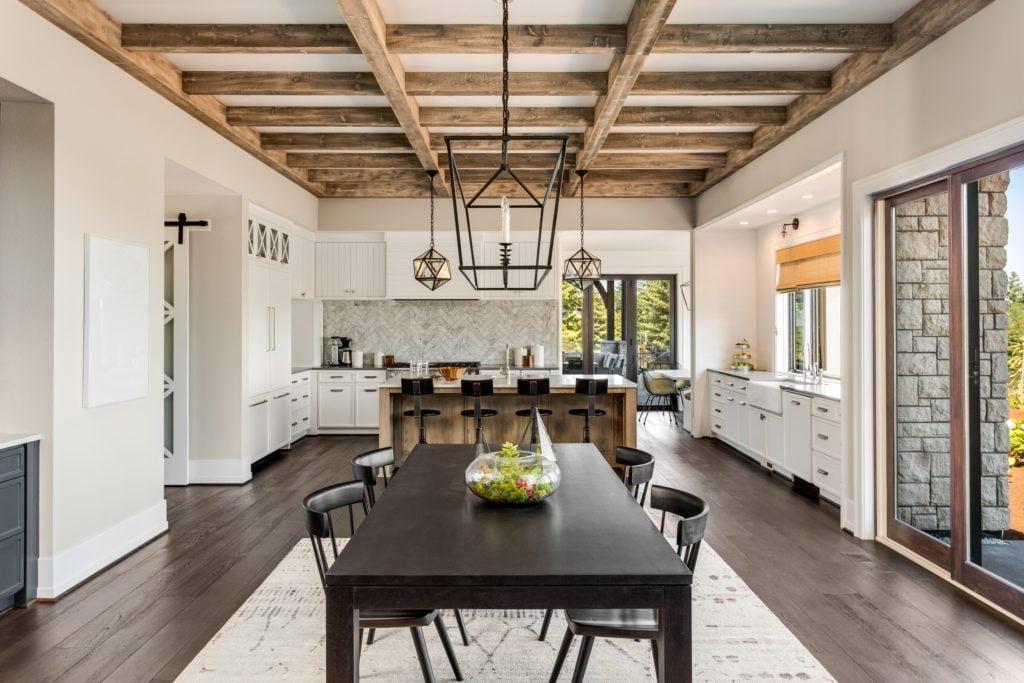 Wood Beams Mansion Kitchen