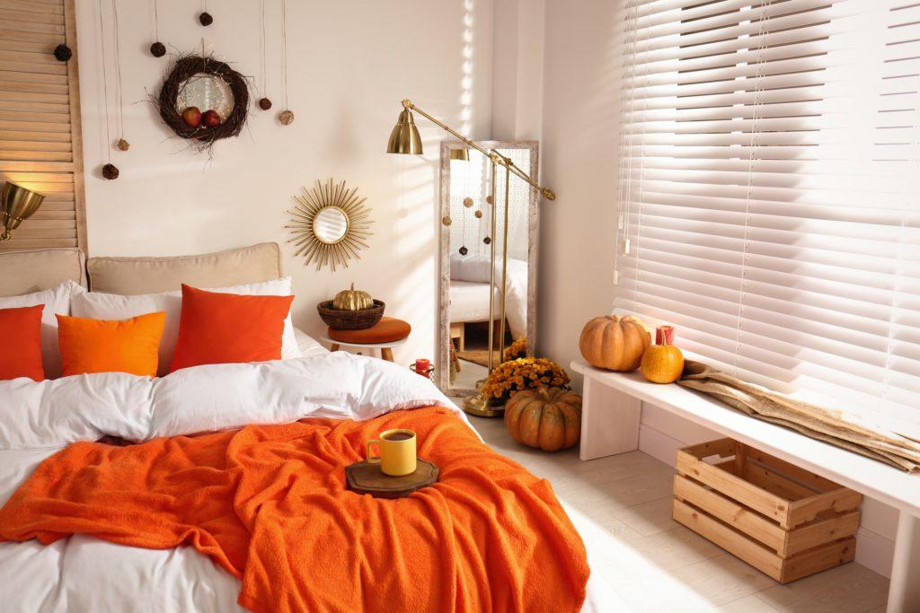 Bright Orange Bedsheets Bedroom