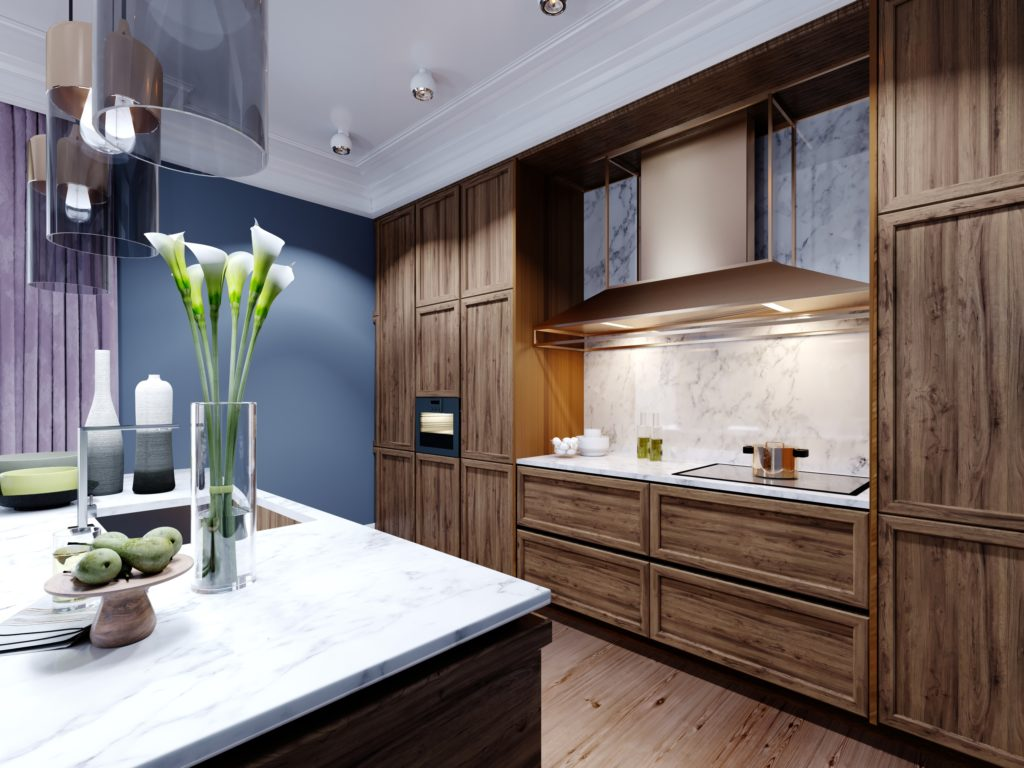 Designer Blue and Brown Kitchen with Stunning Marble-Top Island
