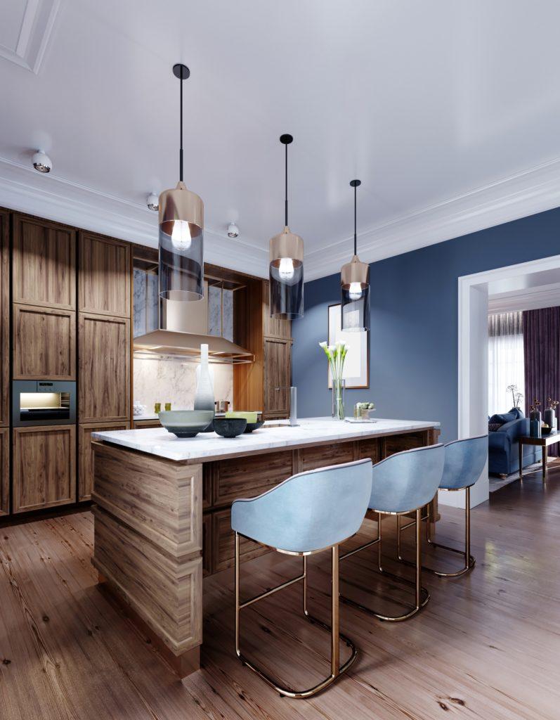 Designer Interior Featuring Blue and Brown Kitchen Decor