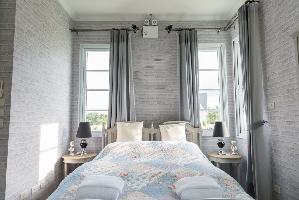 Gray Brick Bedroom