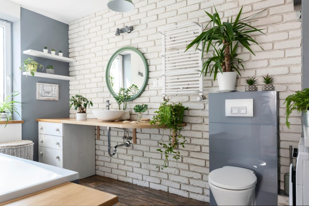 Green Houseplants Bathroom