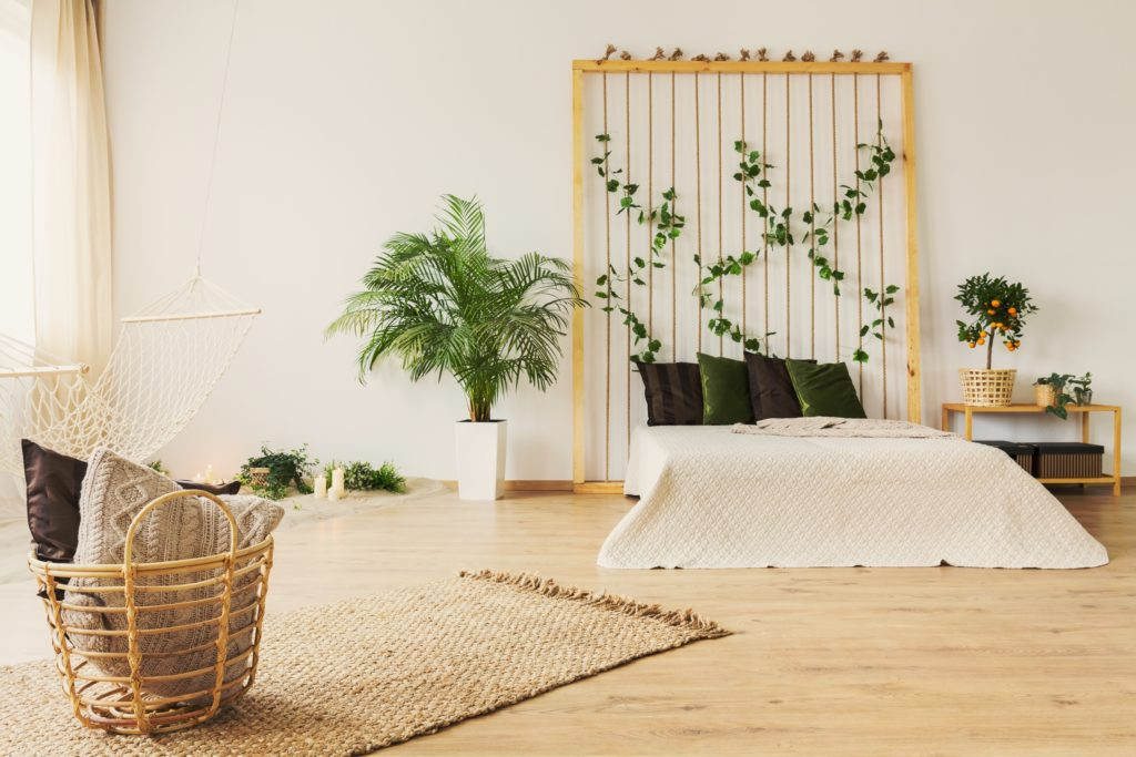 Green Pillows Nature Bedroom