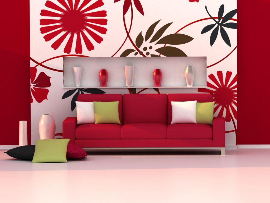 Large Red Floral Wallpaper
