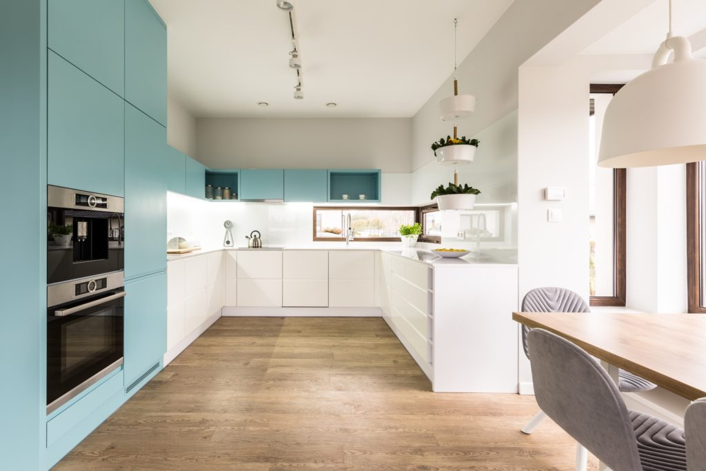 Light Blue and Brown Kitchen with Crisp White Accents