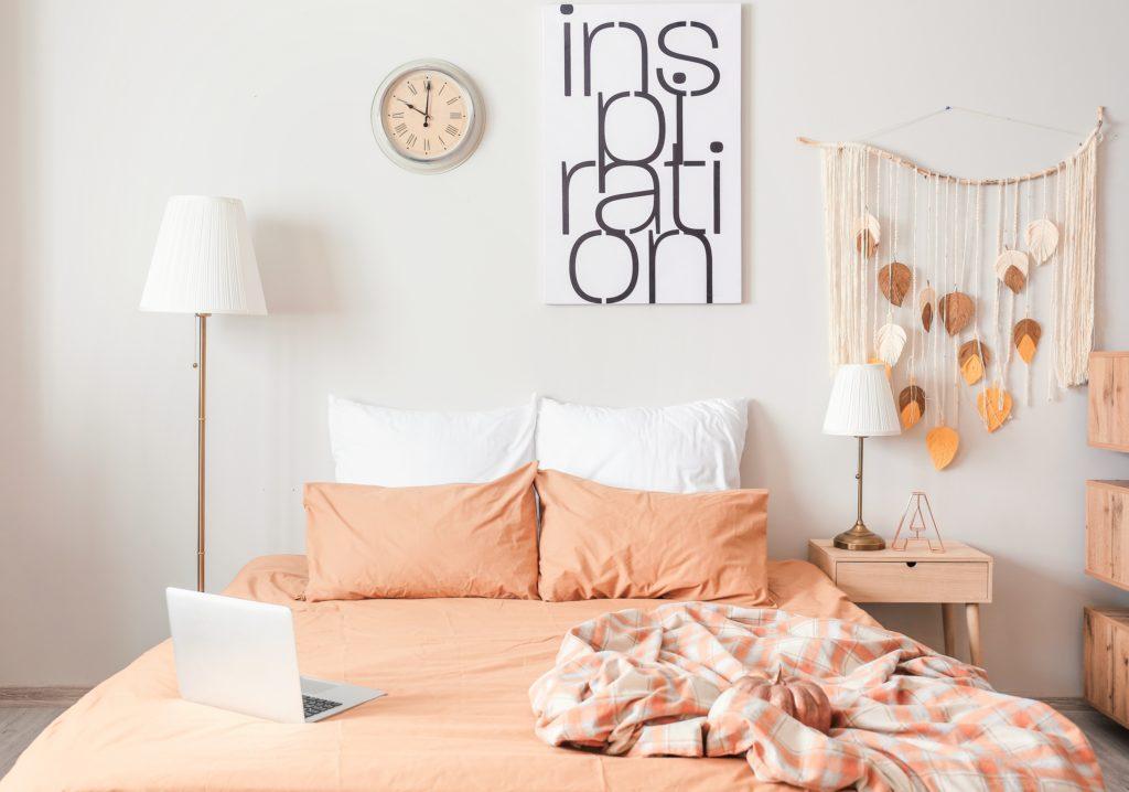 Light Orange and White Bedroom