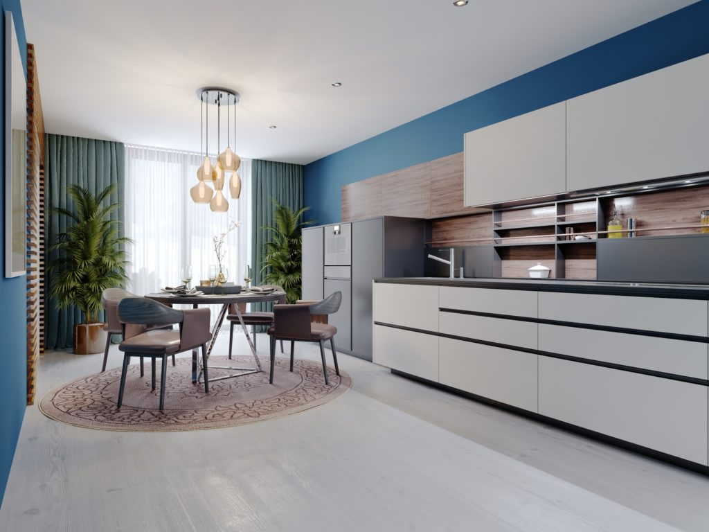Luxurious Kitchen with Blue and Brown Décor