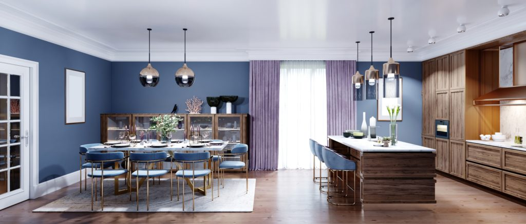 Open Concept kitchen and Dining Room in Blue and Brown