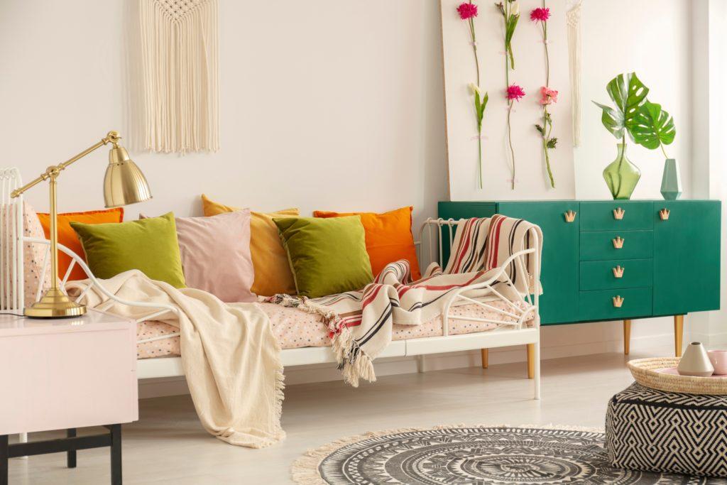 Orange Pillows Boho-Style Bedroom