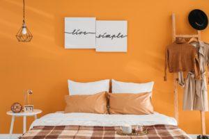 Orange Plaid Bedroom
